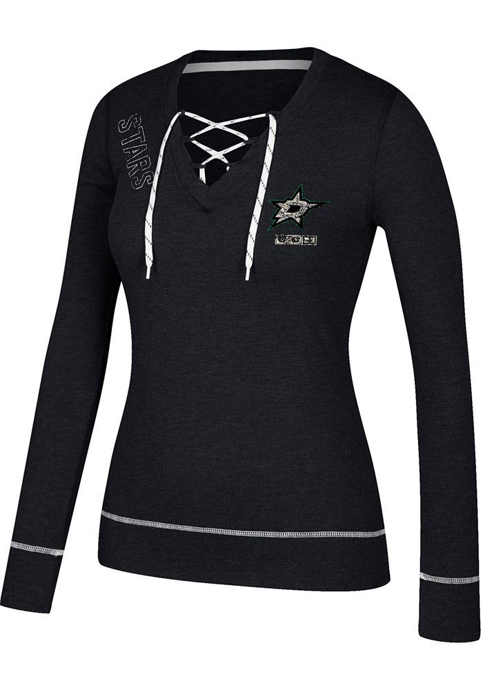 Adidas Dallas Stars Womens Black CCM Well Matched Long Sleeve T-Shirt - Image 1