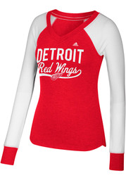 Adidas Detroit Red Wings Womens Red Elbow Patch Long Sleeve T-Shirt