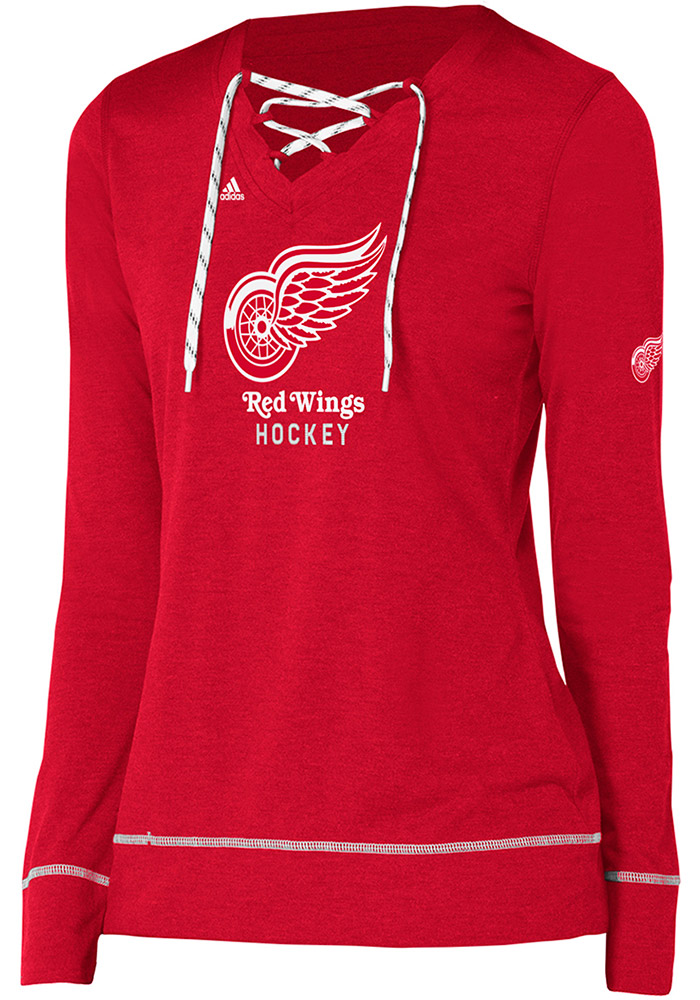 Adidas Detroit Red Wings Womens Red Wordmark Hockey Stitch Long Sleeve T-Shirt - Image 1