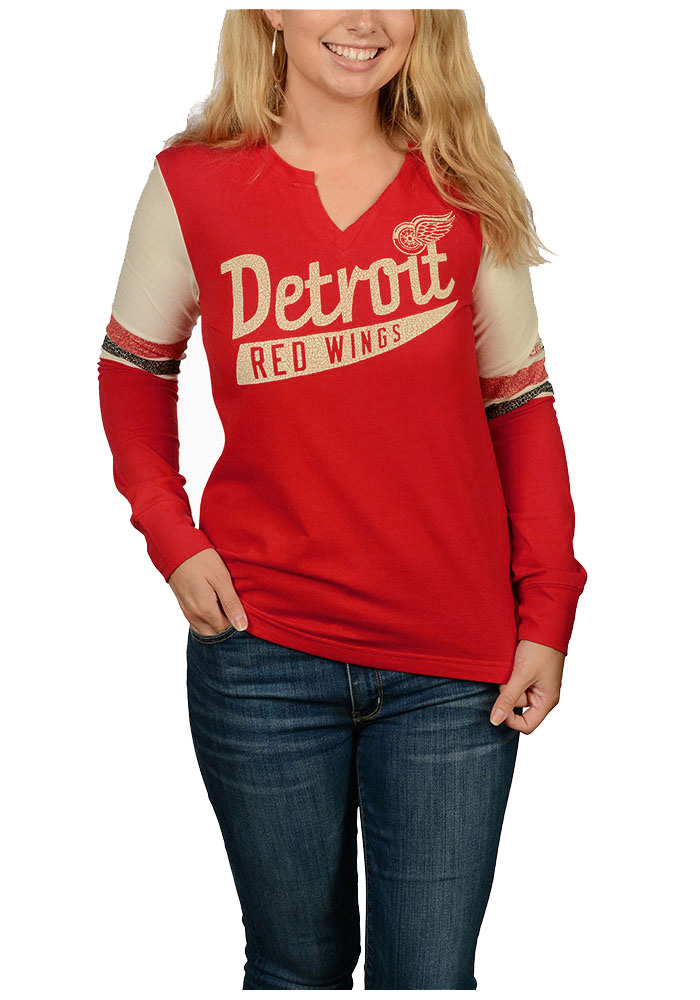 Adidas Detroit Red Wings Womens Red CCM Henley Long Sleeve T-Shirt - Image 1