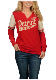Adidas Detroit Red Wings Womens Red CCM Henley T-Shirt
