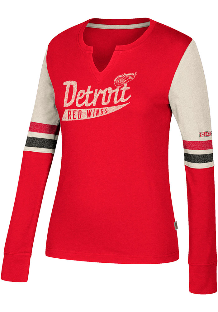Adidas Detroit Red Wings Womens Red CCM Henley Long Sleeve T-Shirt - Image 2