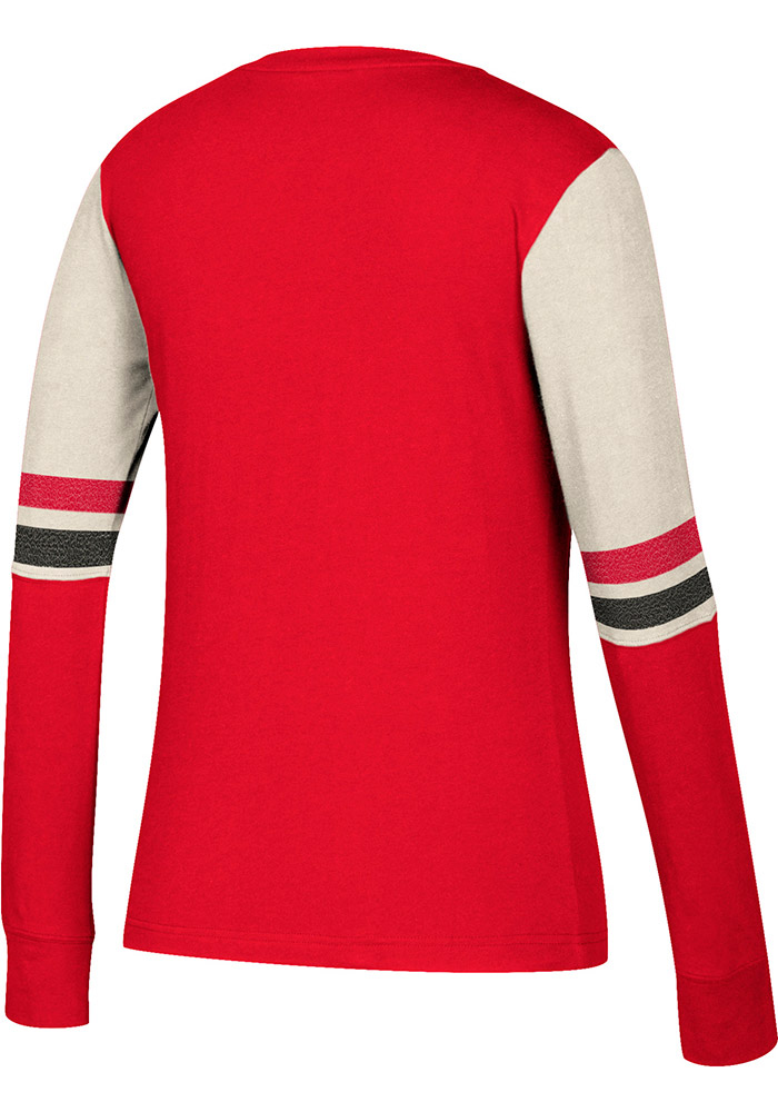 Adidas Detroit Red Wings Womens Red CCM Henley Long Sleeve T-Shirt - Image 3
