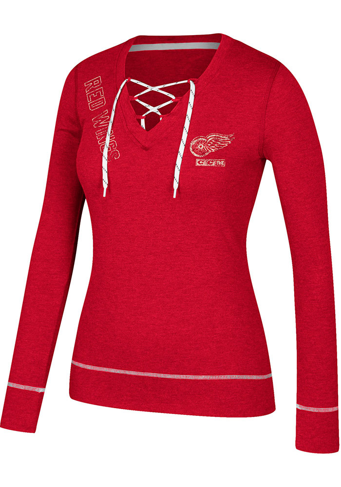 Adidas Detroit Red Wings Womens Red CCM Well Matched Long Sleeve T-Shirt - Image 1