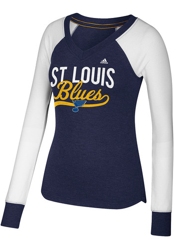 Adidas St Louis Blues Womens Navy Blue Elbow Patch Long