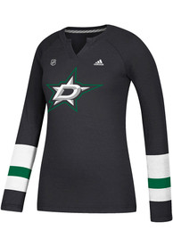 Adidas Dallas Stars Womens Black Stripe Henley Women's V-Neck