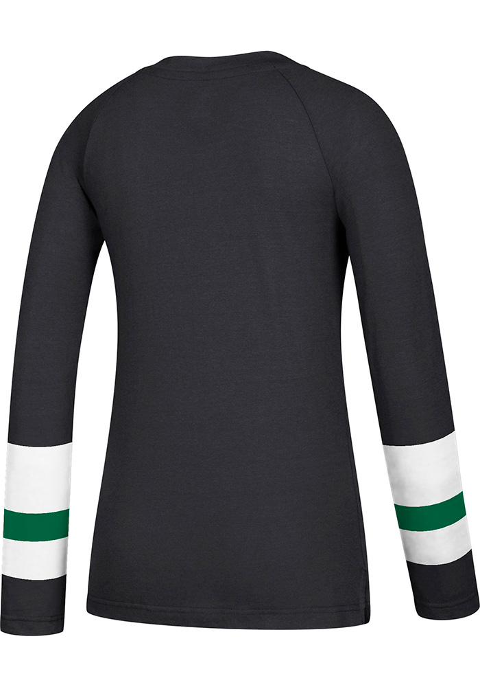 Adidas Dallas Stars Womens Black Stripe Henley Long Sleeve Women's V-Neck - Image 2