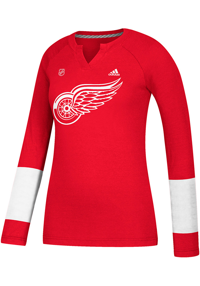 Adidas Detroit Red Wings Womens Red Stripe Henley Long Sleeve Women's V-Neck - Image 1