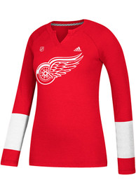 Adidas Detroit Red Wings Womens Red Stripe Henley Women's V-Neck