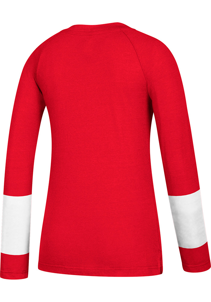 Adidas Detroit Red Wings Womens Red Stripe Henley Long Sleeve Women's V-Neck - Image 2