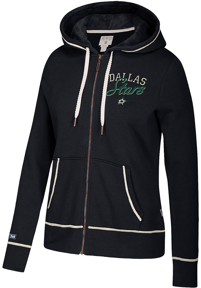 Adidas Dallas Stars Womens Black CCM Fleece Long Sleeve Full Zip Jacket - Image 1