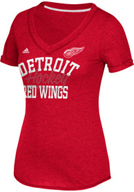Adidas Detroit Red Wings Womens Red Middle Hockey Shine V-Neck
