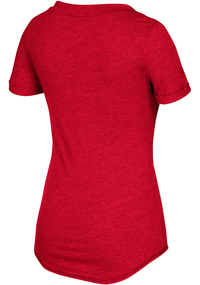 Adidas Detroit Red Wings Womens Red Middle Hockey Shine V-Neck T-Shirt - Image 2