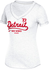 Adidas Detroit Red Wings Womens White CCM Skatelace Sweep V-Neck
