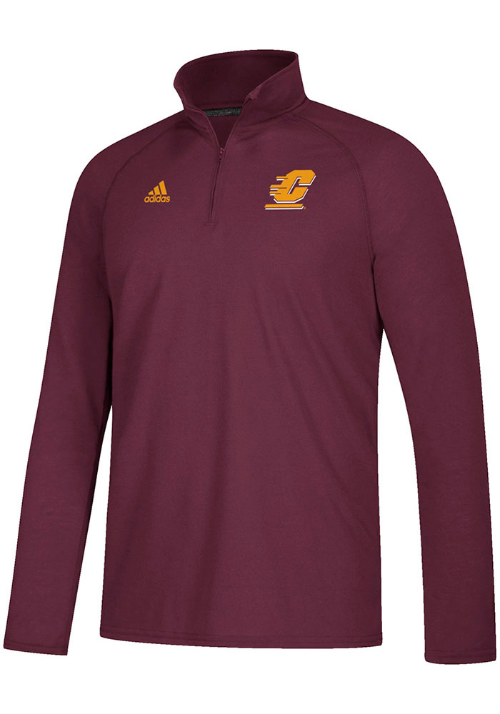 Adidas Central Michigan Chippewas Mens Maroon Sideline Definition Long Sleeve 1/4 Zip Pullover - Image 1