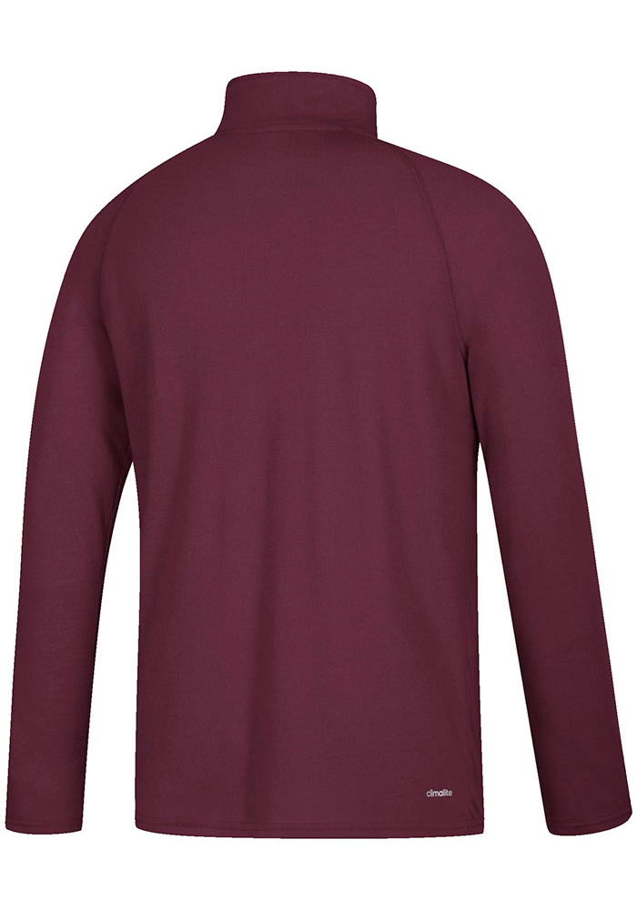 Adidas Central Michigan Chippewas Mens Maroon Sideline Definition Long Sleeve 1/4 Zip Pullover - Image 2