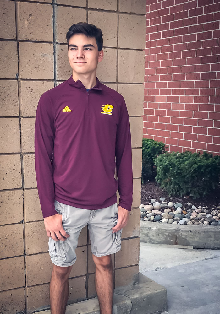 Adidas Central Michigan Chippewas Mens Maroon Sideline Definition Long Sleeve 1/4 Zip Pullover - Image 3