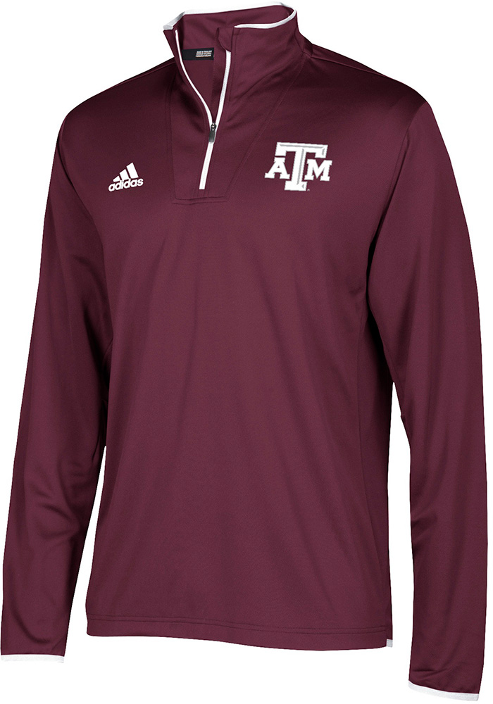Adidas Texas A&M Aggies Mens Maroon Sideline LS Knit Long Sleeve 1/4 Zip Pullover - Image 1