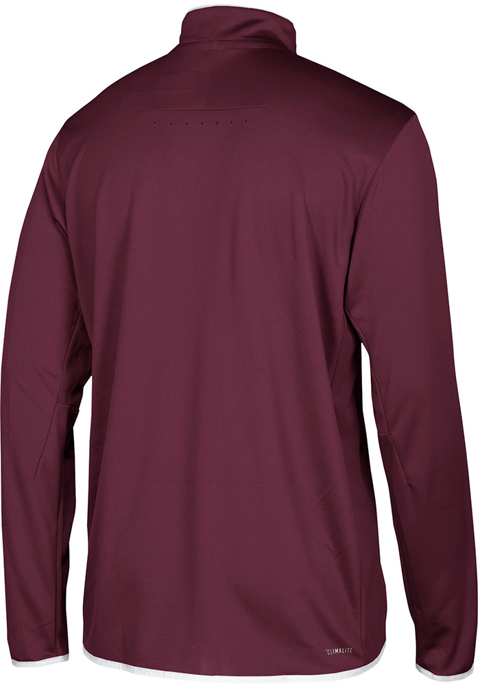 Adidas Texas A&M Aggies Mens Maroon Sideline LS Knit Long Sleeve 1/4 Zip Pullover - Image 2