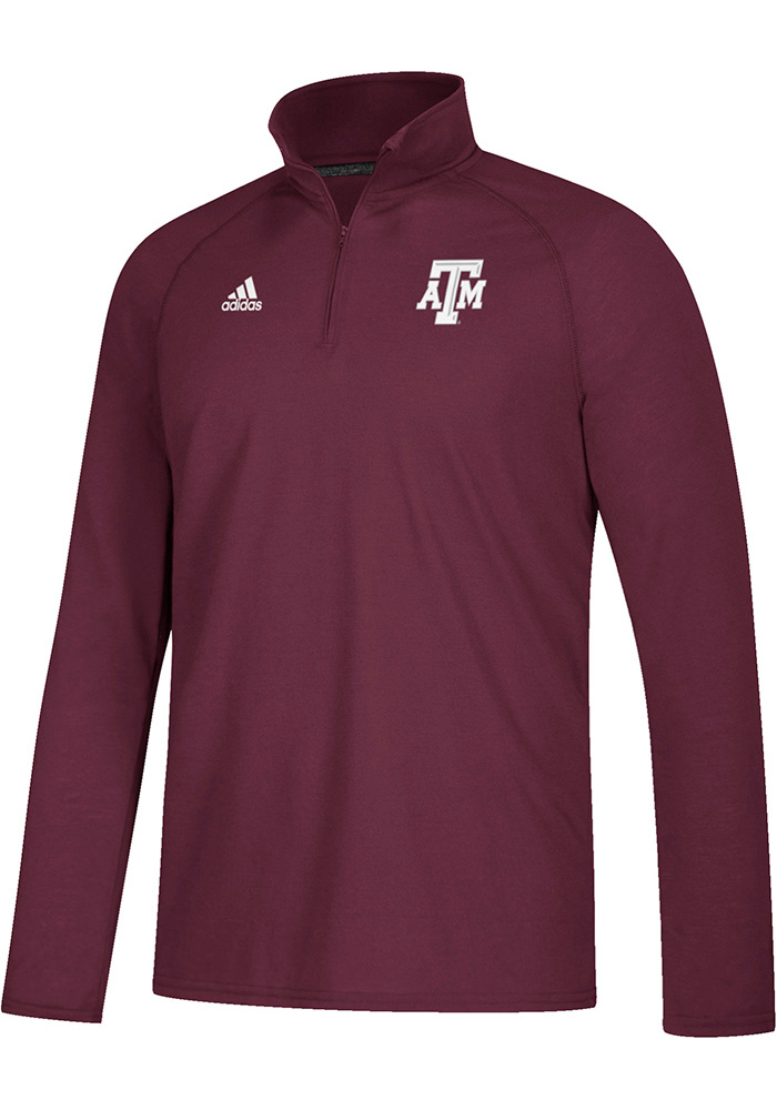 Adidas Texas A&M Aggies Mens Maroon Sideline Definition Long Sleeve 1/4 Zip Pullover - Image 1