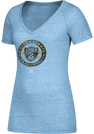 Adidas Philadelphia Union Womens Light Blue Primary Logo V-Neck