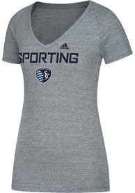 Adidas Sporting Kansas City Womens Grey Roughed Up V-Neck