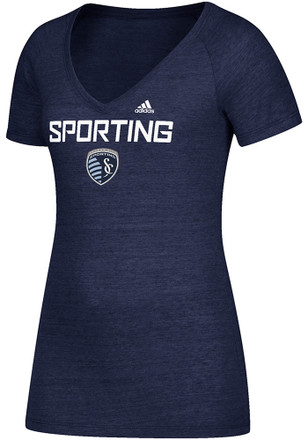 Adidas Sporting Kansas City Womens Navy Blue Roughed Up V-Neck