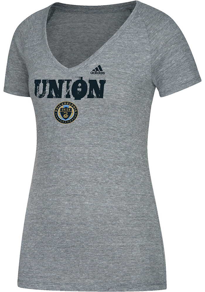 Adidas Philadelphia Union Womens Grey Roughed Up V-Neck