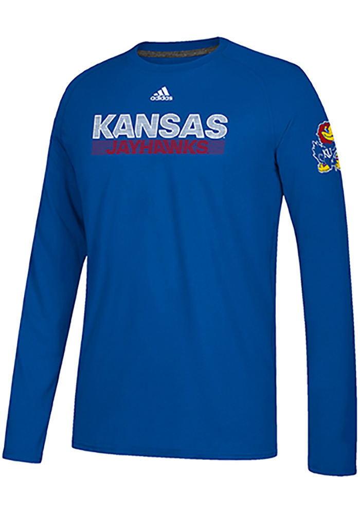 Adidas Kansas Jayhawks Blue Sideline Lined Up Long Sleeve T-Shirt - Image 1