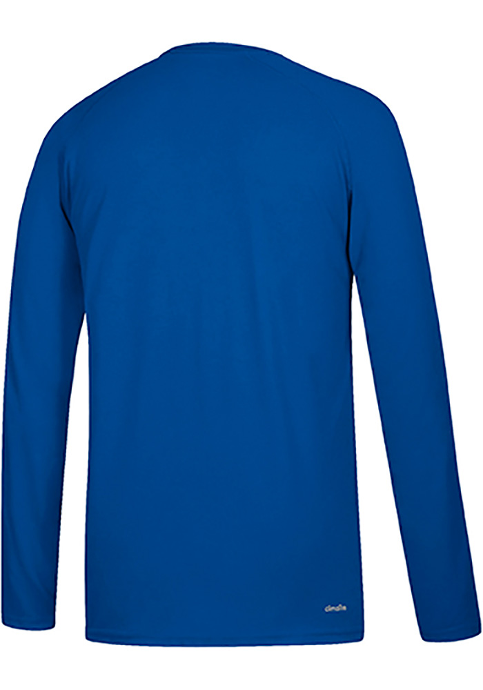 Adidas Kansas Jayhawks Blue Sideline Lined Up Long Sleeve T-Shirt - Image 2