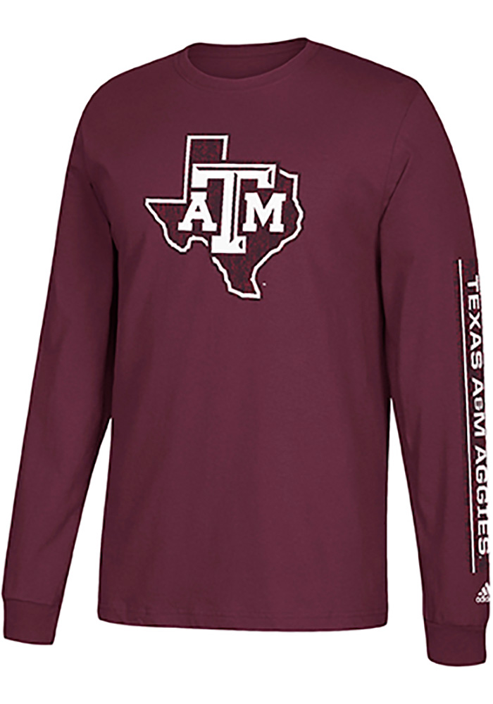 Adidas Texas A&M Aggies Maroon Left Text Long Sleeve T Shirt - Image 1