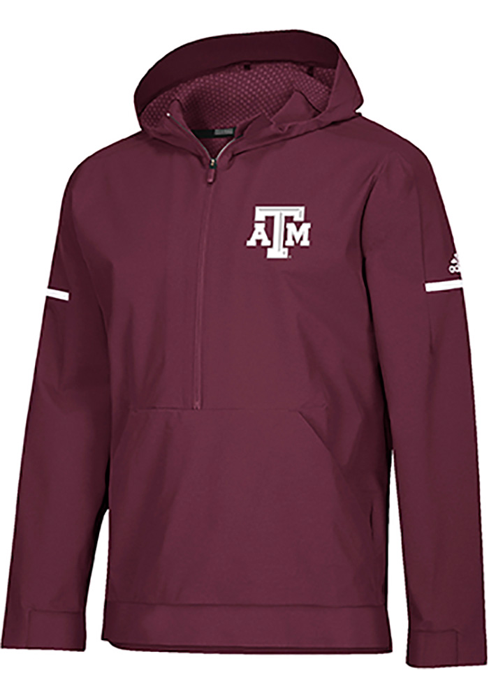 Adidas Texas A&M Aggies Mens Maroon Squad Woven Anorak Light Weight Jacket - Image 1