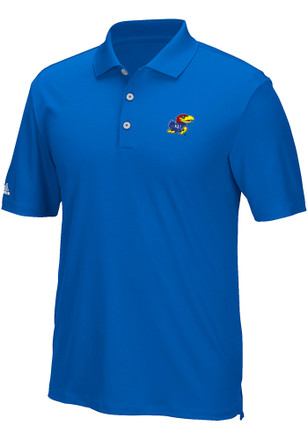 Adidas Kansas Jayhawks Mens Blue Performance Short Sleeve Polo Shirt