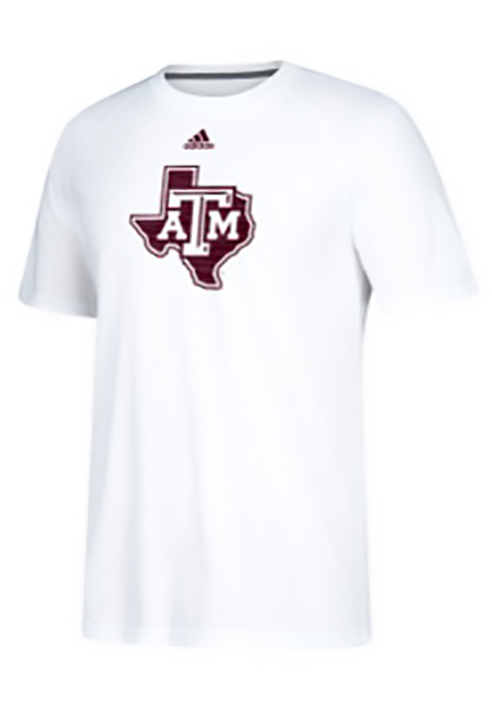Adidas Texas A&M Aggies White Sideline Sequel Short Sleeve T Shirt - Image 1
