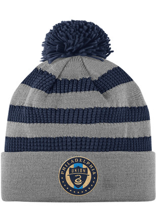 Adidas Philadelphia Union Grey 2018 Authentic Textured Cuff Knit Hat 1c89a3147d59