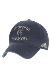 Adidas Sporting Kansas City Mens Navy Blue Sun Bleached Adjustable Hat