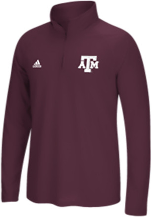 Adidas Texas A&M Mens Maroon Primary 1/4 Zip Performance Pullover