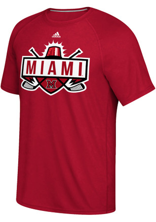 Adidas Miami Redhawks Mens Red Light the Lamp Tee
