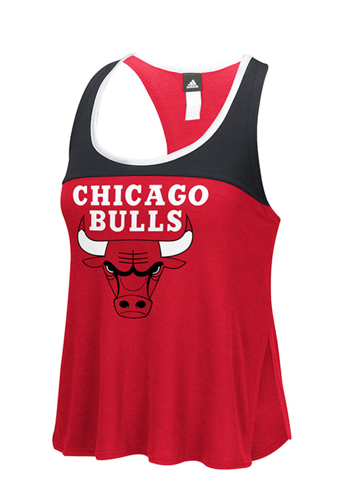 Adidas Chicago Bulls Womens Red Colorblock Tank Top - Image 1