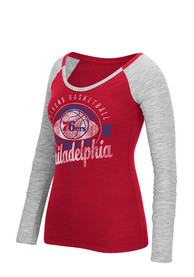 Philadelphia 76ers Womens Script Red Scoop Neck Tee