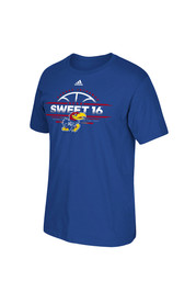 Adidas KU Jayhawks Mens Blue Space Net Tee