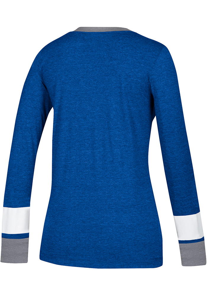 Adidas St Louis Blues Womens Blue Team Stack Skate Lace LS Tee - Image 2