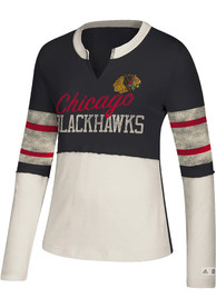 brand new f7f0c 200dc Adidas Chicago Blackhawks Womens Vintage Contrast Black LS Tee