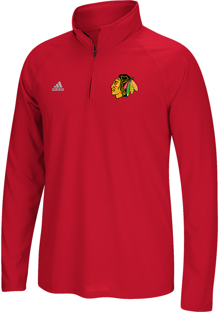 Adidas Chicago Blackhawks Mens Red Ultimate Long Sleeve 1/4 Zip Pullover - Image 1