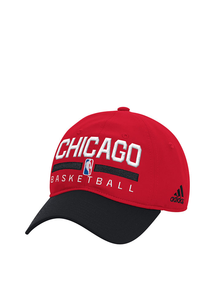 Adidas Chicago Bulls Mens Red 2016 Practice Slouch Adjustable Hat - Image 1
