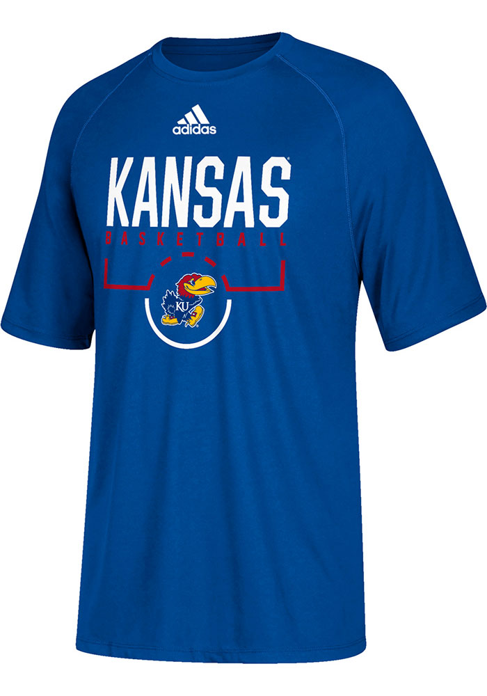 Adidas Kansas Jayhawks Youth Blue On Court Short Sleeve T-Shirt - Image 1