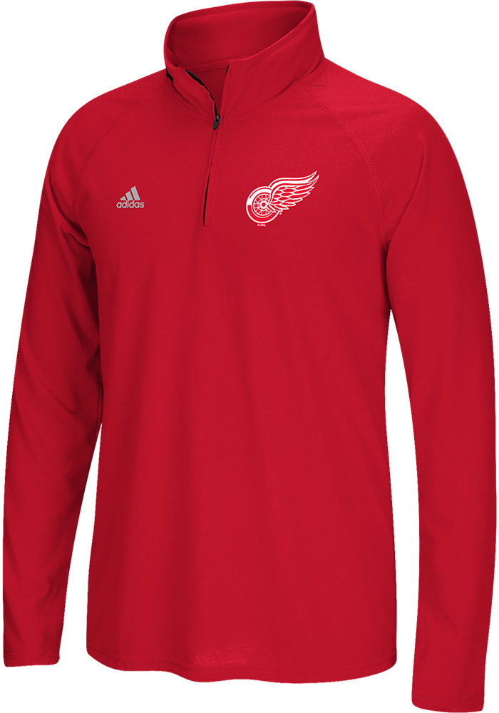 Adidas Detroit Red Wings Mens Red Ultimate Long Sleeve 1/4 Zip Pullover - Image 1