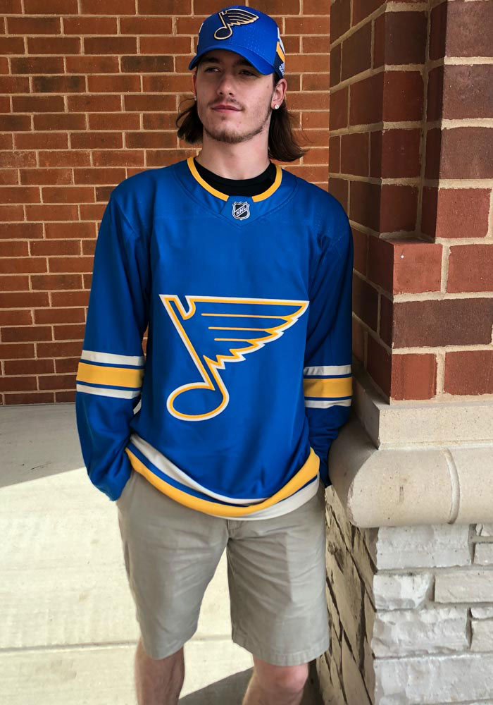 St Louis Blues Mens Blue Blank Hockey Jersey - Image 3