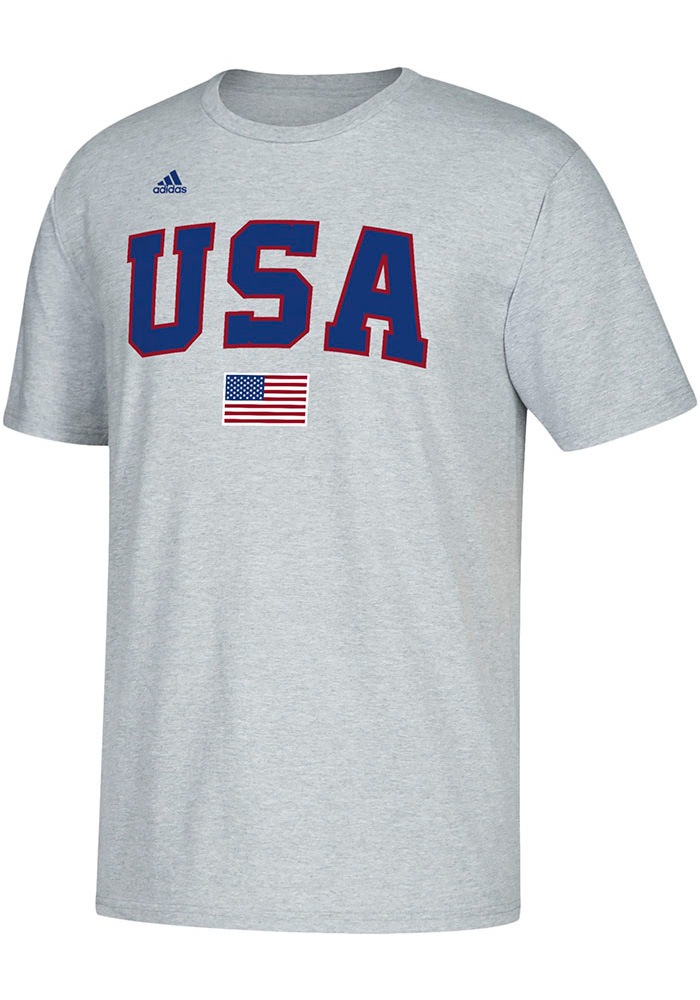 Adidas Kansas Jayhawks Grey USA World University Baseball Championships Short Sleeve T Shirt - Image 1