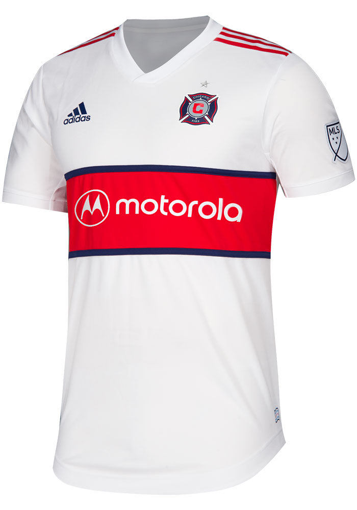 sale retailer 2b0ee 3205d Chicago Fire Mens Adidas Authentic Soccer 2019 Secondary Jersey - White